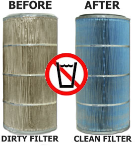 Before and After picture of filter