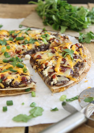 BBQ Black Bean Tortilla Pizza