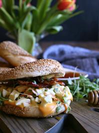 Loaded Egg Salad Bagel with Honey Roasted Bacon