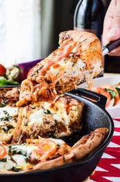 EGGPLANT PARMESAN CAPRESE SKILLET PIZZA