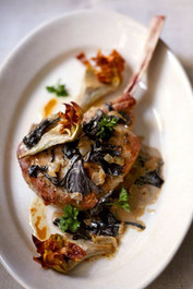 Roasted Veal Chops with Black Trumpet Mushrooms & Artichokes
