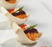 Roasted Red Pepper Hummus Swans - 50 pieces per tray