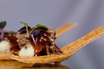 Braised Short Rib & Mashed Potato in Parmesan Spoon- 36 pieces per tray