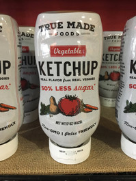 True Made Foods Vegetable Ketchup, Paleo Friendly, Non-GMO, 50% Less Sugar, 17 oz Squeeze Bottle