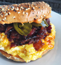 Bacon Jam, Egg & Cheese Bagel Sandwich with Pickle Jalapeños