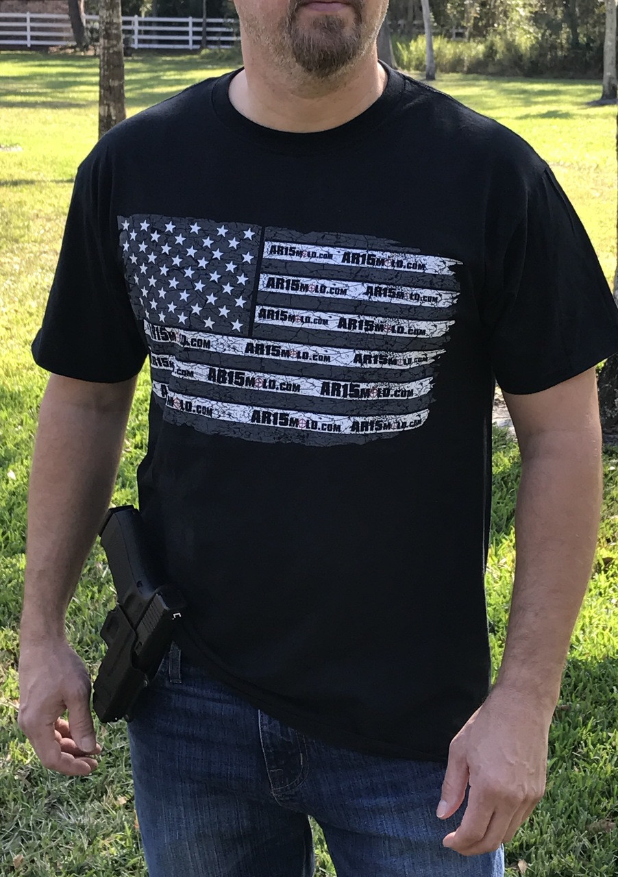 Show your support of the second amendment!  The AR15Mold.com - Freedom Flag shirt.  It's your right to build firearms at home!!