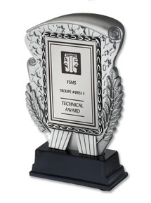 "This 6"" tall eye-catching resin award offers a new and interesting way to recognize achievement. Up to 5 lines of text with 25 characters per line included. Specify ITS icon color: blue or black."
