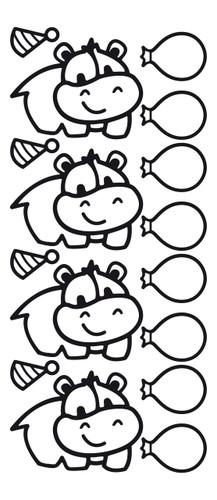 Cute Hippo Outline Sticker