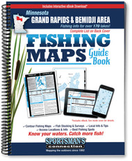 Northern Minnesota Grand Rapids & Bemidji Area Fishing Map Guide cover - includes contour lake maps and fishing information for over 200 lakes and rivers