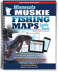 Minnesota Muskie Fishing Map Guide cover -  includes contour lake maps with marked spots and fishing information for over 50 lakes