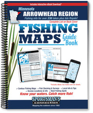 Northern Minnesota Arrowhead Region Fishing Map Guide cover - includes contour lake maps and fishing information for over 230 lakes plus Isle Royale coverage