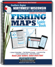 Northwest Wisconsin Southern Region Fishing Map Guide - includes contour lake maps and fishing information for over 190 lakes