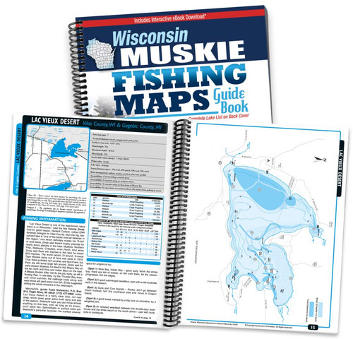 Wisconsin muskie fishing maps sportsmans connection wisconsin muskie fishing map guide cover and page spread fandeluxe Gallery