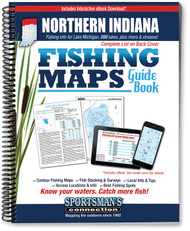 Northern Indiana Fishing Map Guide cover - includes contour lake maps and fishing information for over 200 lakes and rivers