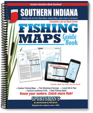 Southern Indiana Fishing Map Guide cover - contour lake maps and fishing information for over 80 lakes and rivers