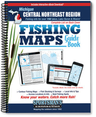 Central-Northeast Michigan Fishing Map Guide cover - includes contour lake maps and fishing information for over 150 lakes, streams, plus Great Lakes coverage