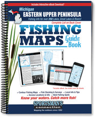 Eastern Upper Peninsula Michigan Fishing Map Guide cover - includes contour lake maps and fishing information for the Great Lakes and over 250 inland lakes
