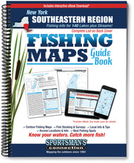 Southeastern New York Fishing Map Guide cover - contour lake maps and fishing information for over 140 lakes and rivers