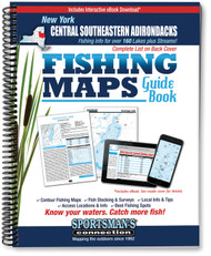 Central Southeastern Adirondacks New York Fishing Map Guide cover - includes contour lake maps and fishing information for over 150 lakes and rivers