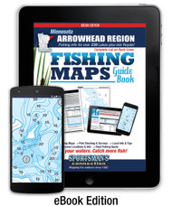 Northern Minnesota Arrowhead Region Fishing Map Guide eBook cover - includes contour lake maps and fishing information for over 230 lakes plus Isle Royale coverage