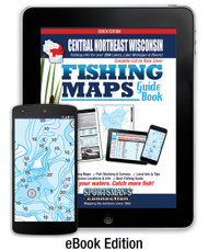 Central-Northeast Wisconsin Fishing Map Guide eBook Edition cover - includes contour lake maps and fishing information for over 280 lakes