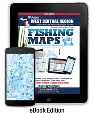 West Central Michigan Fishing Map Guide eBook Edition cover - includes contour lake maps and fishing information for over 150 lakes and rivers plus Great Lakes coverage