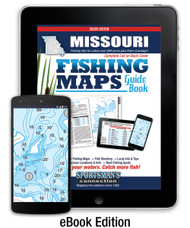 Missouri Fishing Map Guide cover - includes contour lake maps and fishing information for all lakes over 500 acres