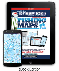 Oneida Area Northern Wisconsin Fishing Map Guide eBook cover - includes contour lake maps and fishing information for over 145 lakes