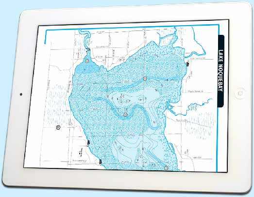 Downloadable fishing map displayed on a tablet