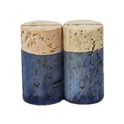 Hand Dyed - Light Blue - Wine Cork Place Card Holders - Double Vertical Corkey Creations