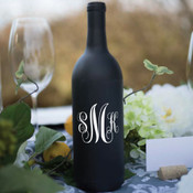 Fancy Monogram Wine Bottle Vinyl Decal - CorkeyCreations.com