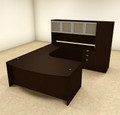 6pc U Shaped Modern Contemporary Executive Office Desk Set, #OF-CON-U10