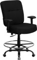 Big & Tall 400 lb. Capacity Big & Tall Black Fabric Drafting Stool with Arms and Extra WIDE Seat , #FF-0310-14