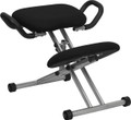 Ergonomic Kneeling Chair in Black Fabric with Handles , #FF-0432-14