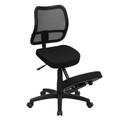 Mobile Ergonomic Kneeling Task Chair with Black Curved Mesh Back and Fabric Seat , #FF-0437-14