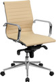 Mid-Back Tan Ribbed Upholstered Leather Conference Chair , #FF-0173-14