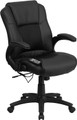 Massaging Black Leather Executive Office Chair , #FF-0230-14