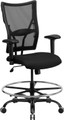 Big & Tall 400 lb. Capacity Big & Tall Black Mesh Drafting Stool with Arms , #FF-0316-14