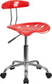 Vibrant Cherry Tomato and Chrome Computer Task Chair with Tractor Seat , #FF-0415-14
