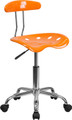 Vibrant Orange and Chrome Computer Task Chair with Tractor Seat , #FF-0427-14