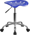 Vibrant Nautical Blue Tractor Seat and Chrome Stool , #FF-0488-14