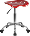 Vibrant Wine Red Tractor Seat and Chrome Stool , #FF-0495-14