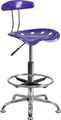 Vibrant Violet and Chrome Drafting Stool with Tractor Seat , #FF-0545-14