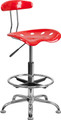 Vibrant Red and Chrome Drafting Stool with Tractor Seat , #FF-0559-14