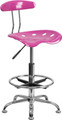 Vibrant Candy Heart and Chrome Drafting Stool with Tractor Seat , #FF-0565-14