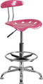Vibrant Pink and Chrome Drafting Stool with Tractor Seat , #FF-0567-14