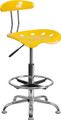Vibrant Orange-Yellow and Chrome Drafting Stool with Tractor Seat , #FF-0569-14