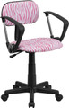 Pink and White Zebra Print Computer Chair with Arms , #FF-0384-14