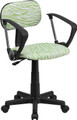 Green and White Zebra Print Computer Chair with Arms , #FF-0386-14