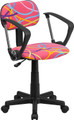 Multi-Colored Swirl Printed Pink Computer Chair with Arms , #FF-0392-14